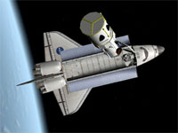 Shows the Nasa Space Shuttle in orbit over the Earth in the latest version of the Orbiter space flight simulator for Windows.