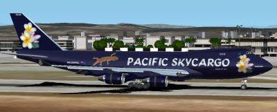 Pacific Skycargo Boeing 747-400F on runway.