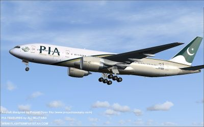 Pakistan International Airlines Boeing 777-200ER in flight.