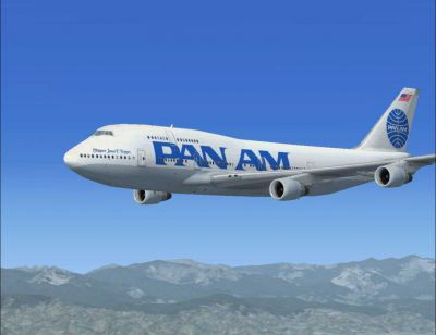 FSX Pan Am Boeing 747-400 flying over mountains.