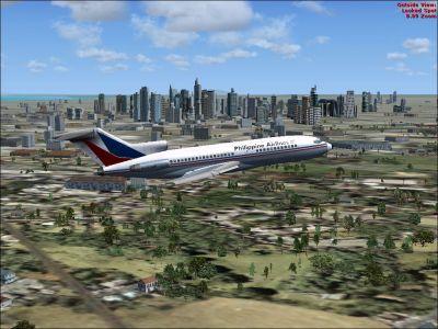 Philippine Airlines Boeing 727-100 in flight.