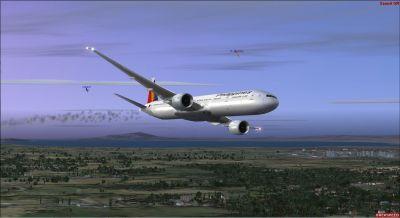 Philippine Airlines Boeing 777 in flight.