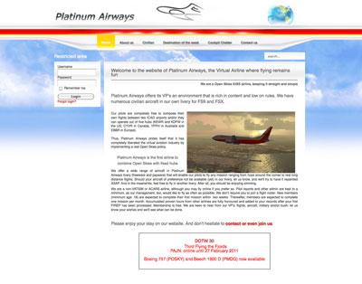 Screenshot of the Platinum Airways website