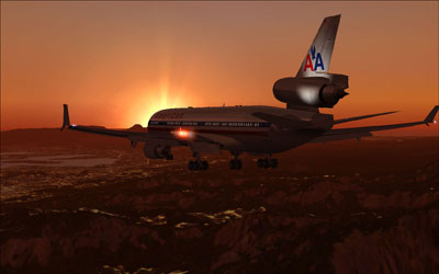 PMDG MD-11 flying into the sunset in American Airlines livery