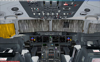 MD-11 Flight deck in rain