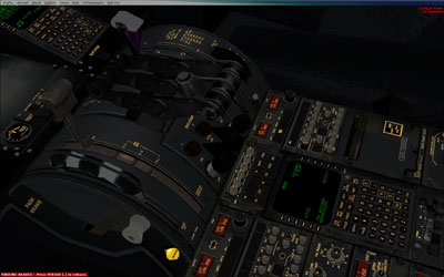 Virtual 3D cockpit showing throttle quadrant, flap controls and trim