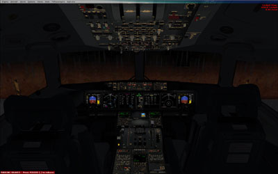 Full flightdeck of the MD-11 at night