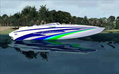 Powerboat boat add-on for FSX.  Images shows boat in the water.