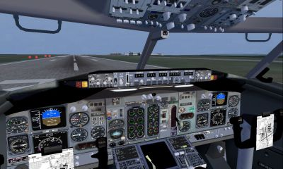 View from the cockpit of Project Open Sky Boeing 737-400.