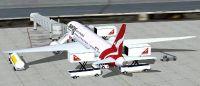 Qantas Boeing 787-8 at boarding gate.