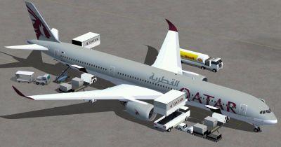 Qatar Airbus A350-1000 XWB on tarmac.