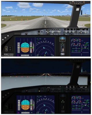 Cockpit view of Qatar Airbus A350-800 XWB.