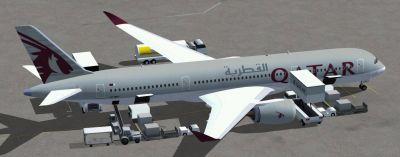 Qatar Airbus A350-800 XWB on tarmac.