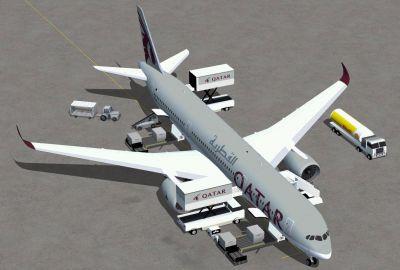 Qatar Airbus A350-900 XWB on tarmac.