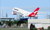 Quantas Airbus A380 taking off in FSX