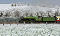 LNER train in snow