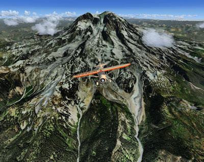 Aircraft flying over Mount Rainier National Park