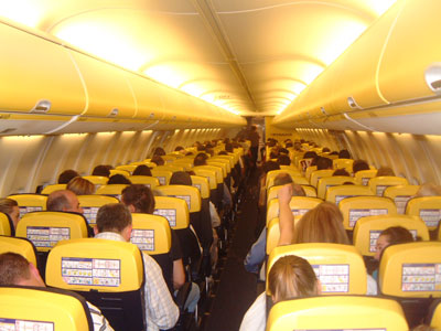 The cabin of a Ryanair aircraft