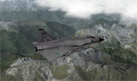 Image shows a Saab 37 military aircraft flying over the French Alps.  The screenshot was captured from X-Plane.
