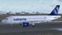 Sabena Airlines Airbus A319-112 on runway.