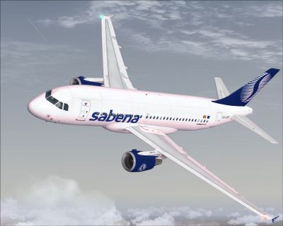 Sabena Airlines Airbus A319-112 in flight.
