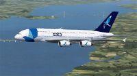 Sata International Airbus A380-800 in flight.
