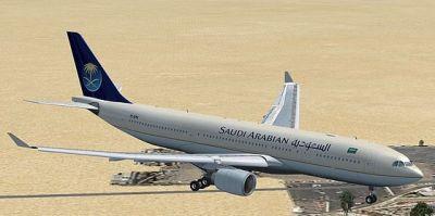 Saudi Arabian Airbus A330-200 in flight.