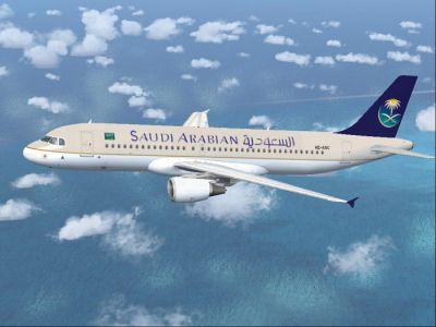 Saudi Arabian Airlines A320-214 in flight.