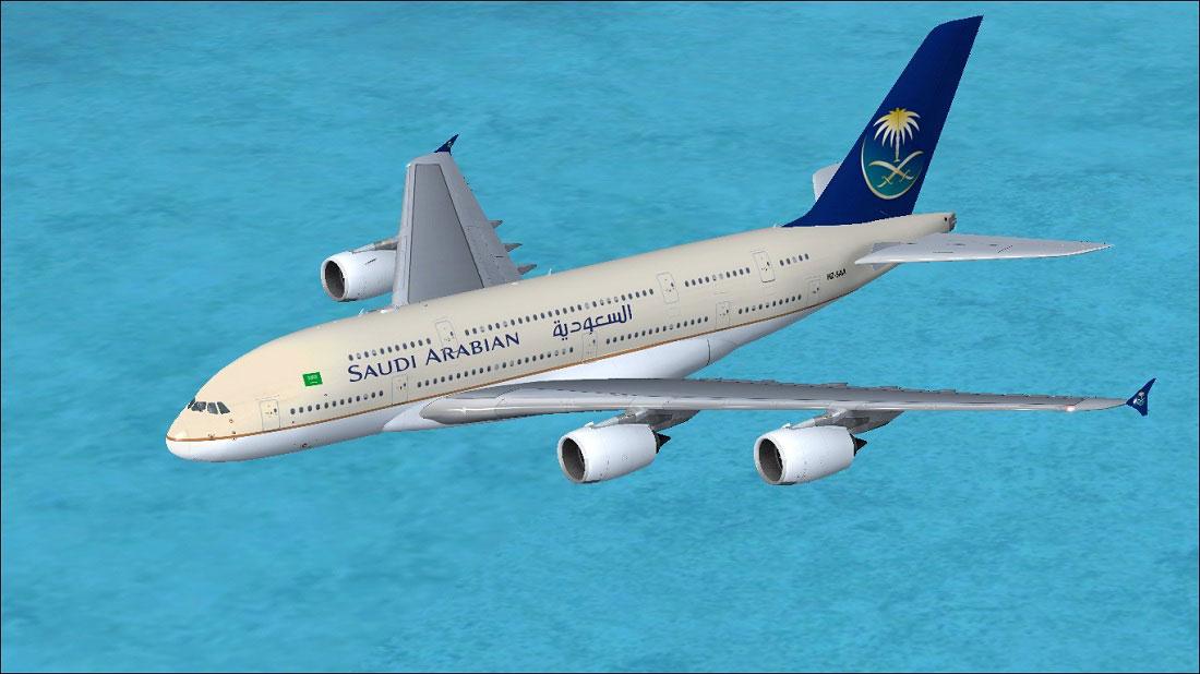 Saudi Arabian Airlines Airbus A380-800 in flight.