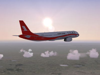 Shanghai Airlines Airbus A321-231 in flight.
