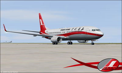 Boeing 737-800 Shanghai Airlines in flight