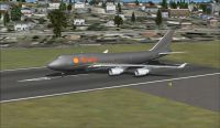 Shell Boeing 747-400x on runway.