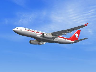 Sichuan Airlines Airbus A330-200 in flight.