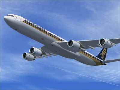Singapore Airlines Airbus A340-600 in flight.