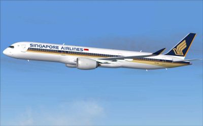 Singapore Airlines Airbus A350-900 XWB shortly after take-off.