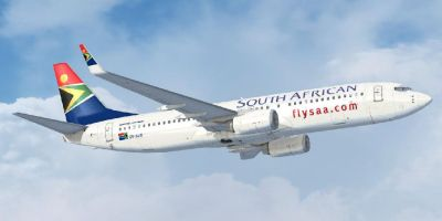 South African Airways Boeing 737-800 in flight.