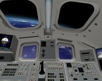 Space Shuttle cockpit showing Earth out of window.