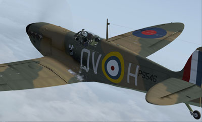 Spitfire aircraft from Just Flight's Battle of Britain add-on for FSX
