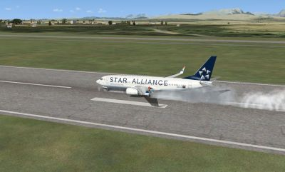Star Alliance Boeing 737-800 landing on runway.