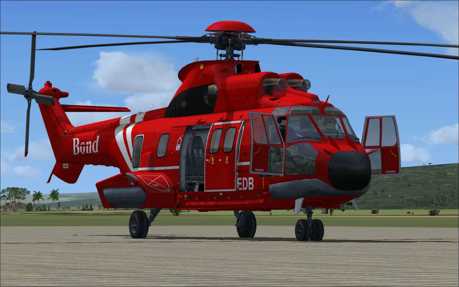 Exterior sliding doors - Nemeth Design S Superpuma Helicopter In Red Quot Bond Quot Livery