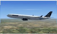 Tarom livery Airbus A330-300 in flight.