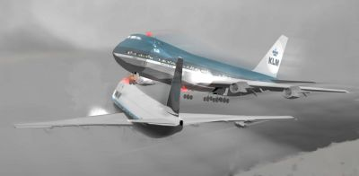 A CGI rendering of the two 747s that were destroyed in the Tenerife Disaster, just before the collision.