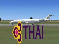 Thai Airways International CRJ-700 on runway.