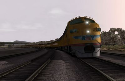 Screenshot from Train Simulator 2012 showing a Union Pacific freight train.