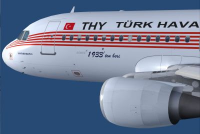 Turkish Airlines Airbus A320-214 in flight.
