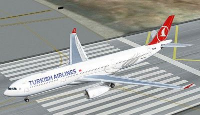 Turkish Airlines Airbus A330-200 on runway.