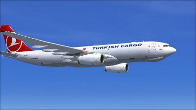 Turkish Cargo Airbus A330-243F in flight.
