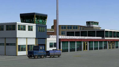 Image shows terminal at Bristol airport by UK2000 scenery in FSX