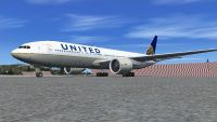 United Airliens Boeing 777-200ER on tarmac.