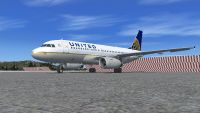 United Airlines Airbus A319 on tarmac.